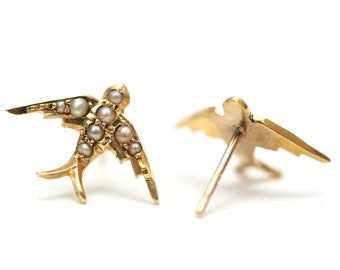 10k Victorian Swallow Earrings- Medium