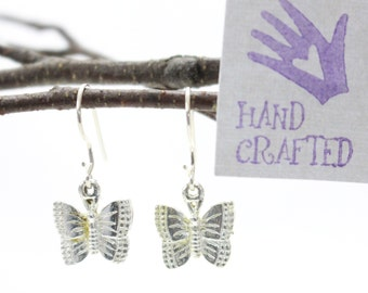 Sterling Silver butterfly drop, dangle earrings. Woodland, insect, nature inspired. Gardener gift.