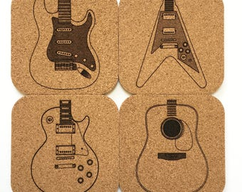 Guitar Cork Coaster Set