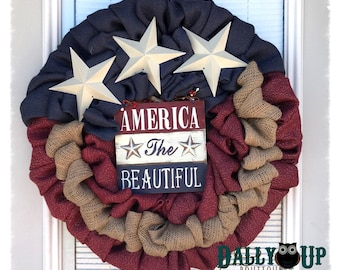 4th of July Burlap Wreath -  Natural,  Maroon,  and  Blue Burlap Wreath, sparkle Wreath, Patriotic,  Flag Wreath , Independence Day