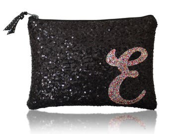 Personalised initial monogram sequin zip top clutch purse black