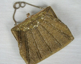 Vintage 1950s Beaded Purse 50s Gold Beaded Evening Bag with Metal Strap