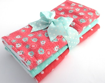Baby Burp Cloth Set - Set of 3 - Baby Girl - Coral & Light Aqua Floral, Aqua Polka Dot, Coral Polka Dot - Cotton Flannel - White Terrycloth