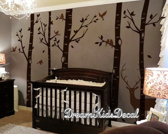 wall decals tree decal, nature wall decals, vinyl wall decal, birch tree with buck deer, woodland nursery wall stickers-DK240