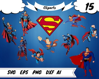 15 Superman clipart,Superman svg,superman printable,superman invitation,superman decal,superman birthday,superman vector,superhero clipart