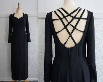 Black Gown With Spiderweb Backstraps