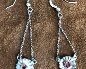 Dangling earrings with ruby