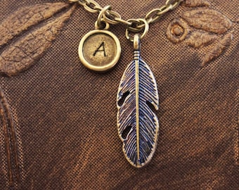 Blue Feather Necklace, Custom Initial Necklace, Personalized Necklace, Engraved Necklace, Hand Stamped Necklace, Feather Charm Neckace