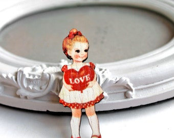Retro Girl wooden brooch kawaii sweet lolita egl heart love red valentines