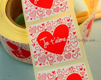 """20 labels gift stickers - """"I love you"""" # EMB57"""