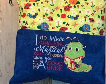 Baby Caterpillar Reads - Pocket  Pillow - Embroidered Pocket Pillow - Kids Decor