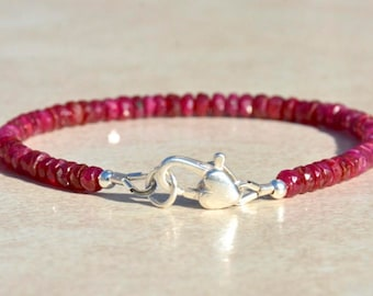 Ruby Bracelet, July Birthstone Bracelet, Beaded Bracelet, Natural Ruby Gemstone Bracelet, Silver Charm Bracelet, Gift for Her