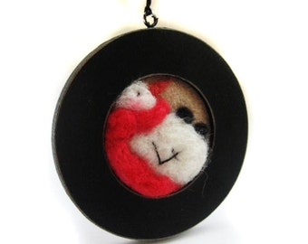 Snowman Ornament - Santa Ornament -Felted Snowman - Felted Santa - Christmas Decor