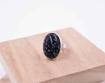 Bohemian Ring // Snowflake Obsidian Silver Ring // Boho Ring // Black Stone Ring // Womens Ring // 18x25mm