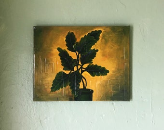 Potted plant -Original acrylic painting on canvas