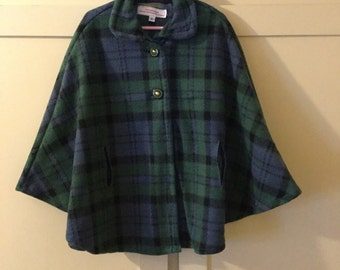 Classic Blue and Green Plaid Cape