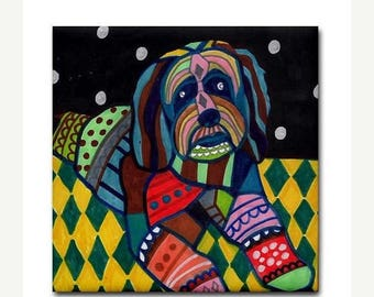 Tibetan Terrier art Tile Ceramic Coaster  Folk Art Print of painting by Heather Galler Dog