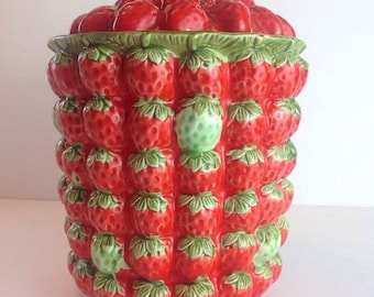 Vintage Ceramic Red & Green Strawberry Cookie Jar Canister Hand Painted Glazed