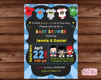 Superhero Baby Shower Invitation - Super baby shower invitation - baby superhero invitation - Baby shower invitation. DIGITAL FILE