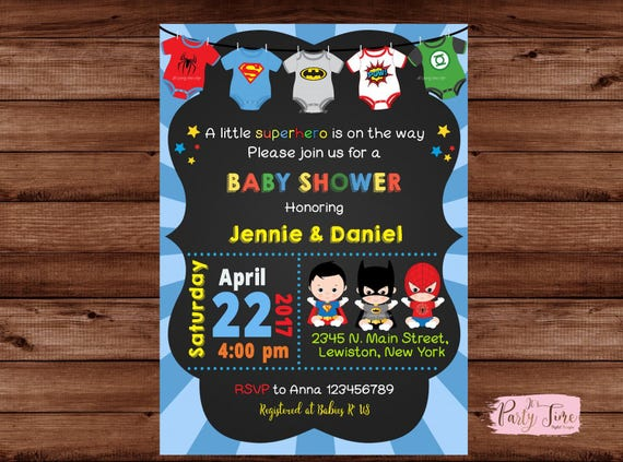 Dynamic image for free printable superhero baby shower invitations