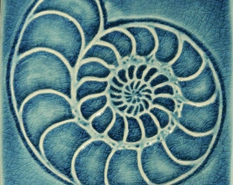 Ceramic  Ammonite Fossil Pottery Nautical Beach Seashell 4 Inch Tile