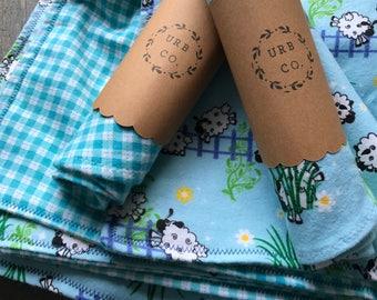 Farm Plaid Reversible Blanket and Burp Cloth set