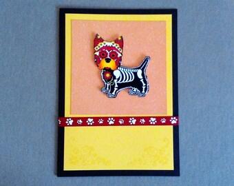 Handmade Fabric Day of the Dead Westie Skeleton Halloween Card