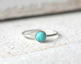 Silver Turquoise Ring, Turquoise Gemstone Ring, Stacking Ring, Dainty Turquoise Ring, Turquoise Stackable Ring, Turquoise Ring Silver