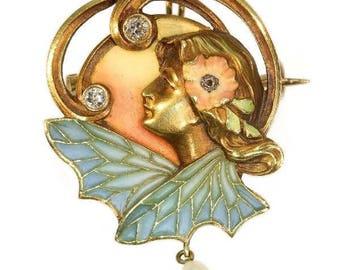Art Nouveau enamel pin brooch woman and wings