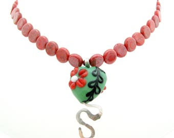 Red Green Floral Lampwork Pendant Beaded Necklace, 16-18 In, Czech Glass Red Dime Beaded Necklace, Lampwork Floral Heart Pendant, Sterling