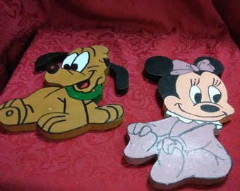 Vintage Minnie Mouse and Pluto wall plaques