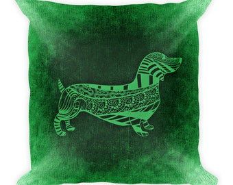 Dachshund Dog Portrait Square Pillow