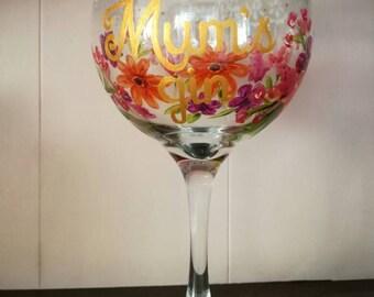Hand painted custom gin balloon glass