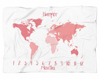 Map Milestone Blanket - Pink World Map - Personalized Monthly Baby Blanket
