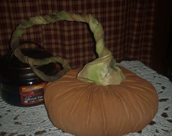 SMALL | Primitive | Harvest | Fabric Pumpkin With Trailing Vine | Halloween / Thanksgiving Decor