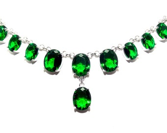 Sterling Silver Emerald 25.08ct Necklace (925)