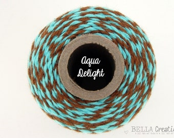 SALE - Aqua and Brown Bakers Twine by Timeless Twine - Aqua Delight