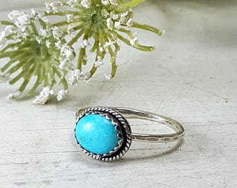 Natural Turquoise Sterling Silver Ring Oxidized Ring Turquoise ring for women