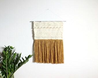 Contemporary weaving/scandinavian weaving/ yellow mustard/ trendy hygge weaving