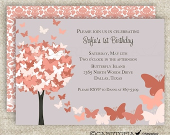 BUTTERFLY BIRTHDAY PARTY Invitations Coral Butterfly Fall Autumn Fairy Tale Butterfly Digital diy Printable Personalized - 175715317