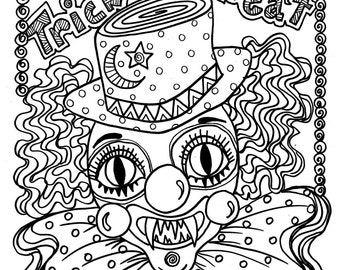 evil clown halloween coloring pages - photo#8