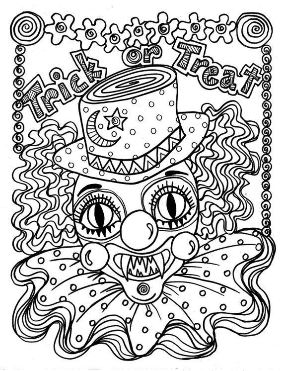 free printable coloring pages for adults halloween | Instant Download Scary Clown Halloween Spooky Coloring page