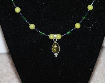 Olive Green Black Persephone Gemstone Pendant Necklace Beaded