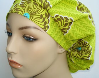 Bouffant Surgical Scrub Hat, Chemo Hat, Amy Butler Soul Blossoms Bliss Delhi Lime