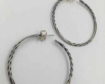Classic sterling silver twist hoops