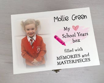 Gorgeous Personalised First School Year Box Printed With Your Own Photo Gift Box Memory Box Keepsake Box Memento
