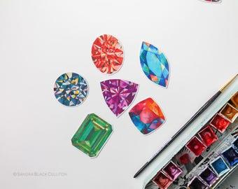 Gemstones, gem stickers, laptop sticker, laptop stickers, bumper sticker, phone decal, vinyl stickers, waterproof stickers, stickers