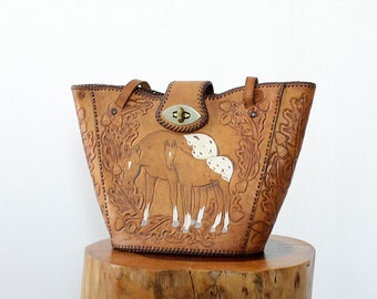 Horse Bucket Bag • Vintage Tooled Leather Tote • Leather Horse Bag • Embossed Leather Handbag • Embossed Leather Bucket Bag  • B1186