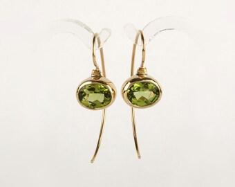 Gold drop earrings,  August birthstone Peridot earrings, 14k solid gold earrings, green gemstone earrings, minimalist gold earrings
