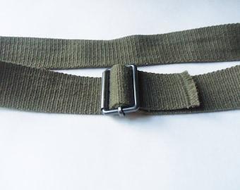 "Green Woven Fabric Belt, 35"" Casual Style Belt"